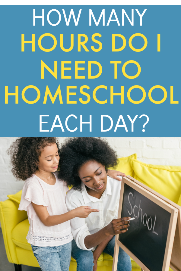 HOW MANY HOURS A DAY TO HOMESCHOOL text over an African American mom writing on a small easel chalk board for her African American daughter