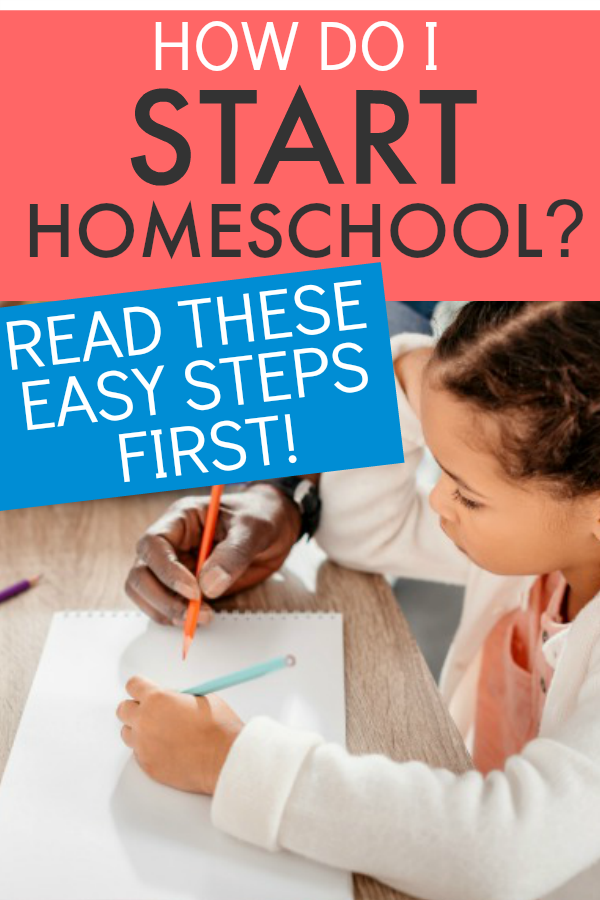 How To Begin Homeschooling text over image of African American girl doing home school work at a table