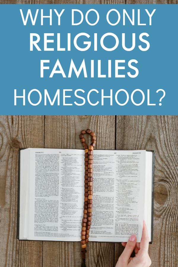 Why Are There Only Religious Homeschooling Families text over a caucasian woman's hand turning the pages of a Bible sitting on a table